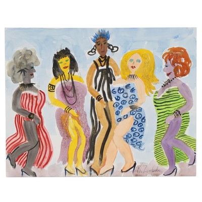 "Kathleen Zimbicki Watercolor and Glitter Painting ""Ladies,"" circa 2020"