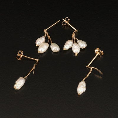 14K Baroque Pearl Drop Earrings