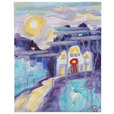 "Kathleen Zimbicki Watercolor Painting ""Virtual Trip to Greece,"" 2020"