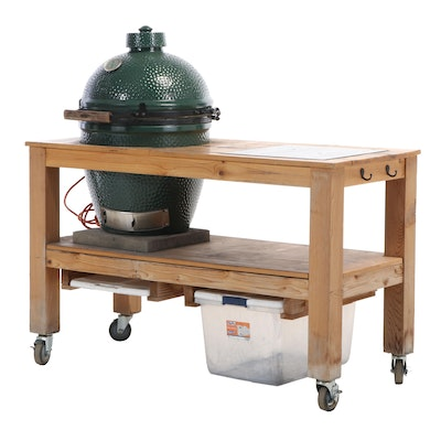Big Green Egg Grill/Smoker/Oven with Custom Built Work Station and Accessories