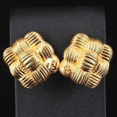 Fendi Basket Weave Earrings