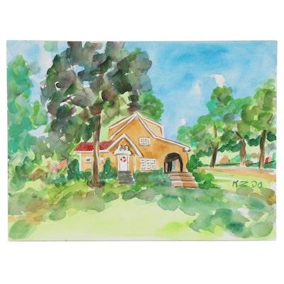 "Kathleen Zimbicki Watercolor Painting ""Rennerdale House Seller,"" 2020"