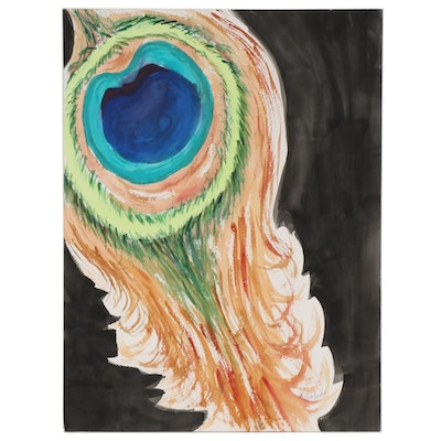 "Kathleen Zimbicki Watercolor Painting ""Peacock Feather,"" circa 2020"