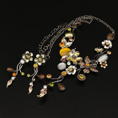 Makachi Rhinestone, Enamel, and Cat's Eye Glass Necklace and Earring Set