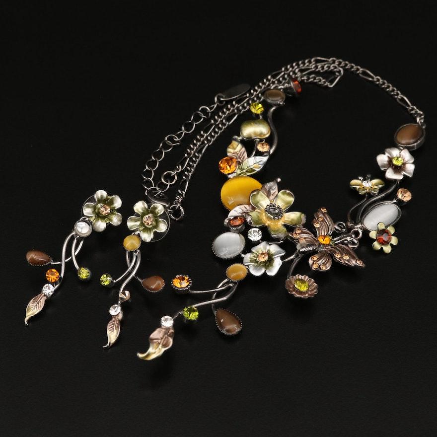 Makachi Rhinestone, Enamel, and Cat's Eye Glass Necklace and Earring Set