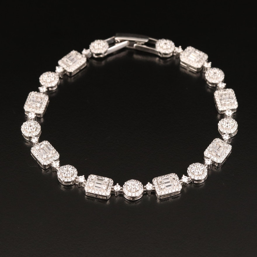 Sterling Silver Cubic Zirconia Circles and Squares Link Bracelet