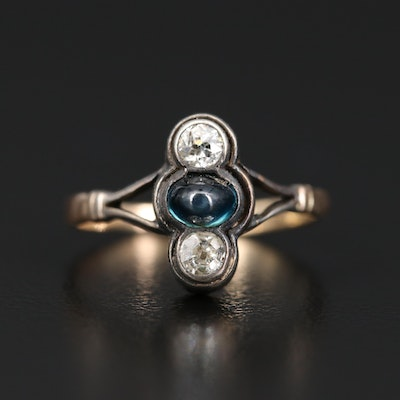 Antique 14K Sapphire and Diamond Ring with Sterling Top