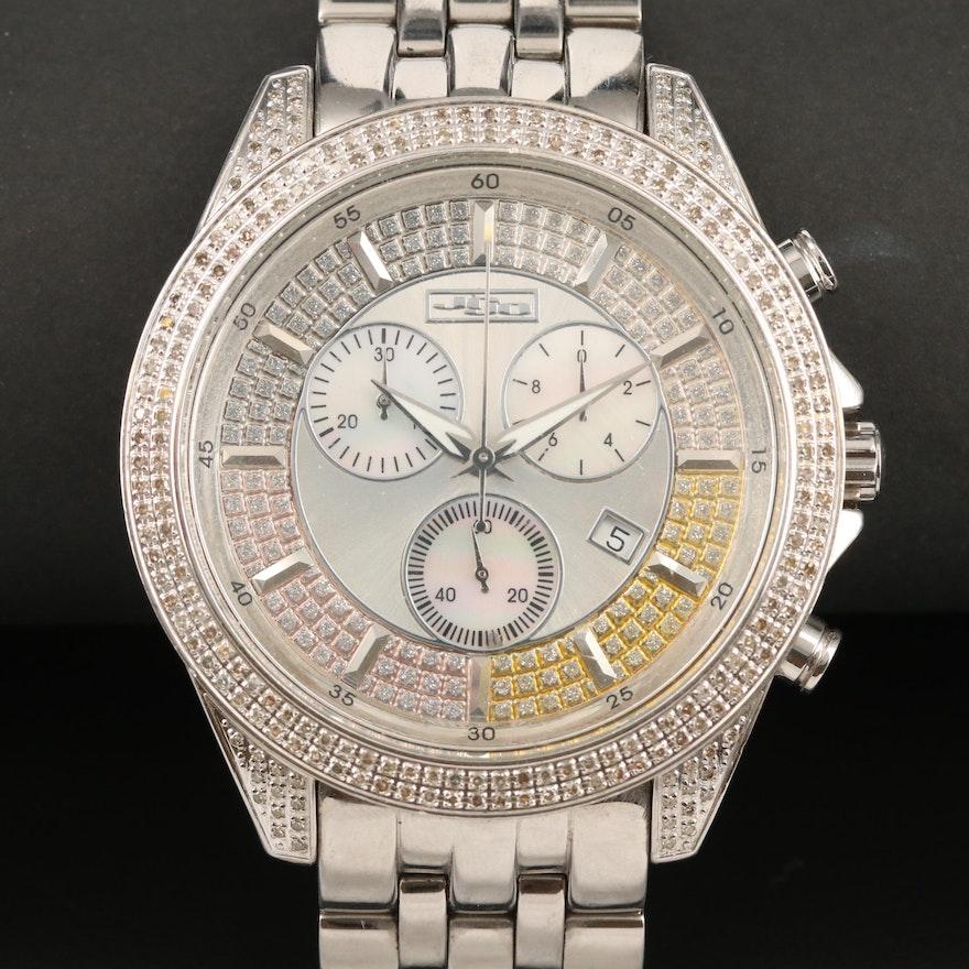 Joe Rodeo Jojo 2.25 CTW Diamond Chronograph Stainless Steel Wristwatch