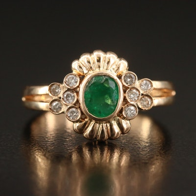 14K Bezel Set Emerald and Diamond Ring