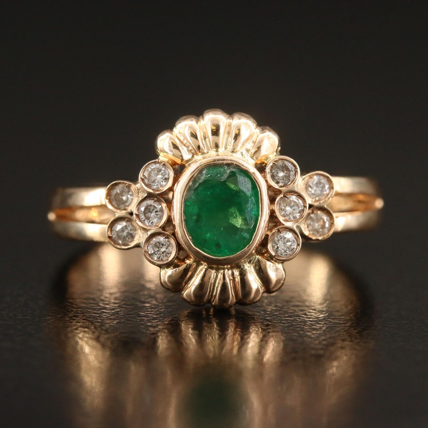 14K Bezel Set Emerald and Diamond Ring
