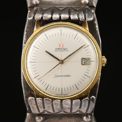 1966 Omega Seamaster Gold Plated Wristwatch on Sterling Silver Turquoise Cuff