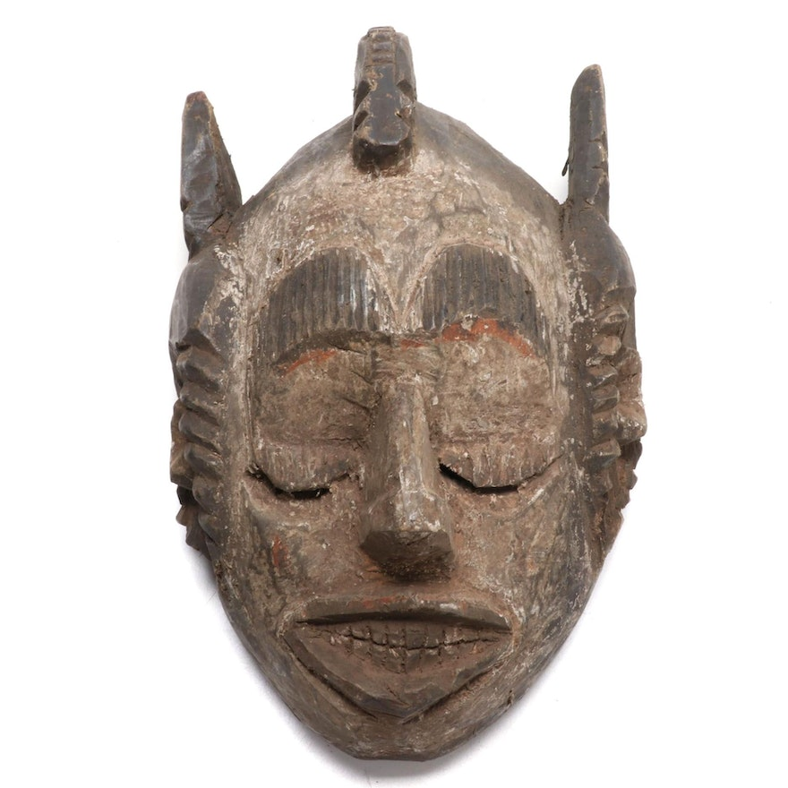Ibibio-Igbo Style Carved Wood Mask, West Africa