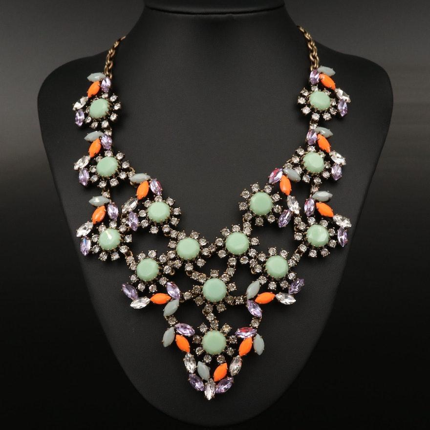 J. Crew Rhinestone and Glass Necklace