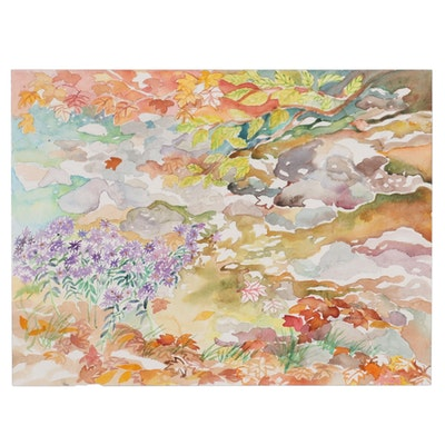 """Sheila Bonser Watercolor Painting """"More Wild Asters,"""" 2010"""