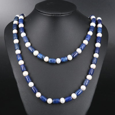 Sterling Silver Lapis Lazuli and Pearl Double Strand Necklace