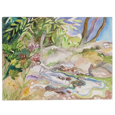 """Sheila Bonser Watercolor Painting """"Woodland Pool,"""" 2010"""