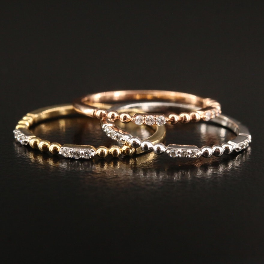 10K Tri-Color Diamond Stacking Rings
