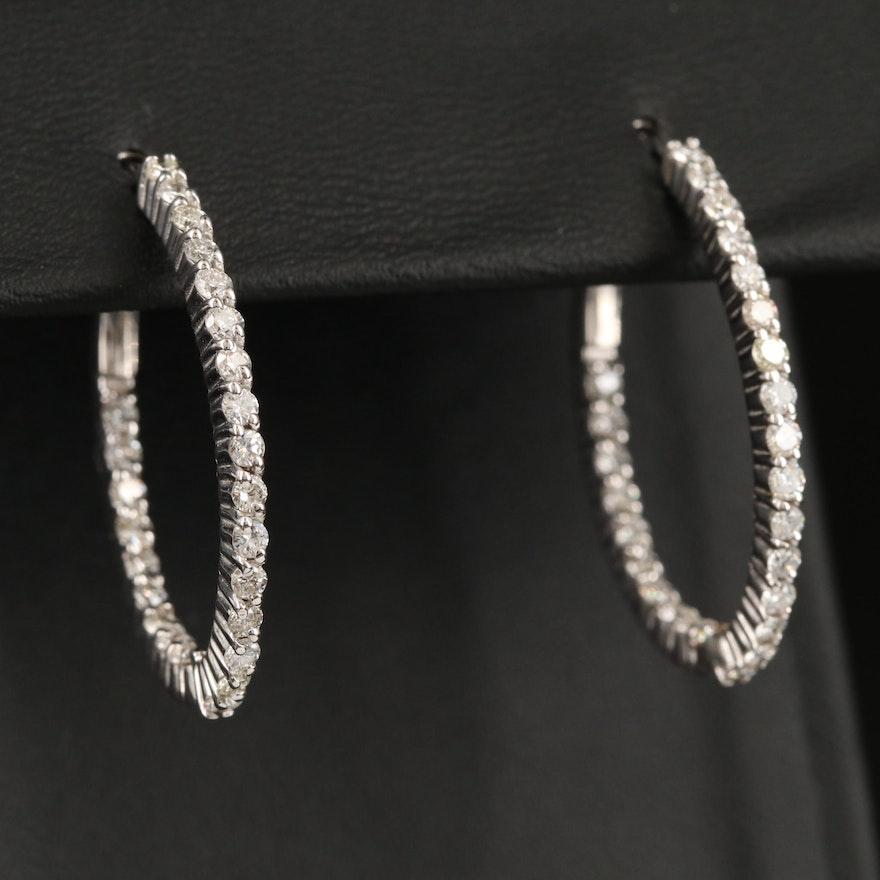 14K 1.50 CTW Diamond Inside-Out Oval Hoop Earrings