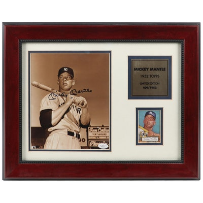 Mickey Mantle Signed Display, COA