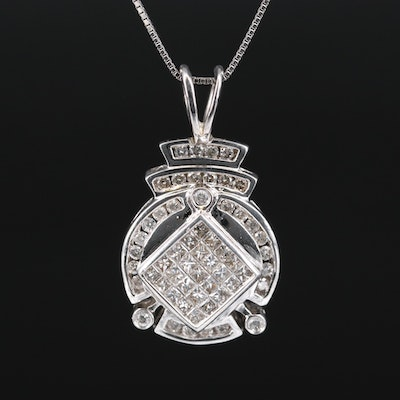 14K Diamond Invisible Set Pendant with 10K Chain