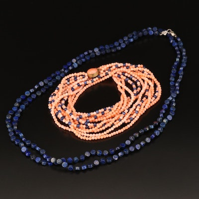Coral, Quartz and Lapis Lazuli Necklaces Including Sterling Silver