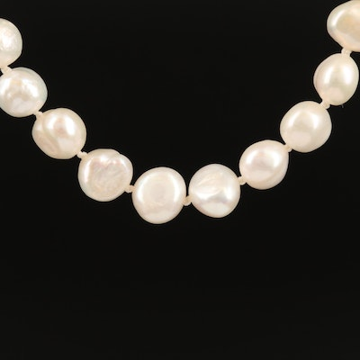 Single Strand Knotted Semi-Baroque Pearl Necklace with 14K Clasp