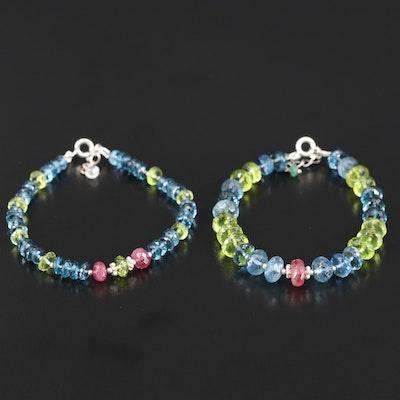 Sterling Silver Topaz, Ruby and Peridot Bracelets