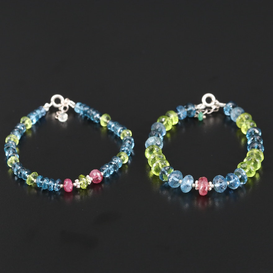 Sterling Silver Topaz, Ruby and Peridot Bracelets