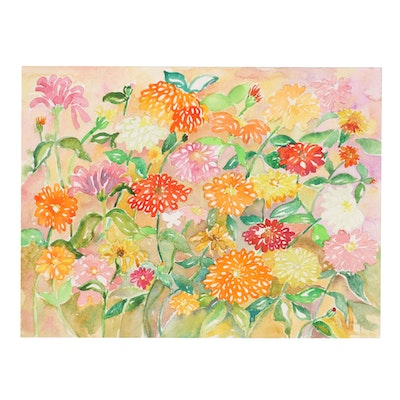 """Sheila Bonser Floral Watercolor Painting """"Zinnias I,"""" 2013"""