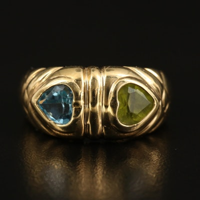14K Topaz and Peridot Heart Ring