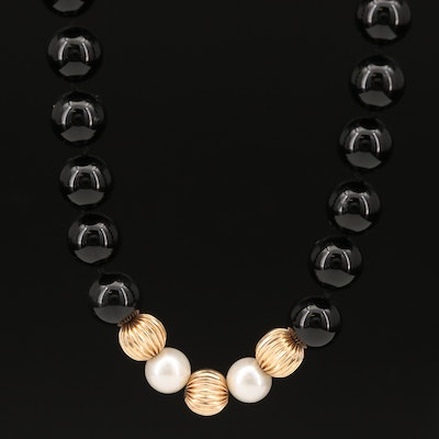 14K Black Onyx and Pearl Necklace