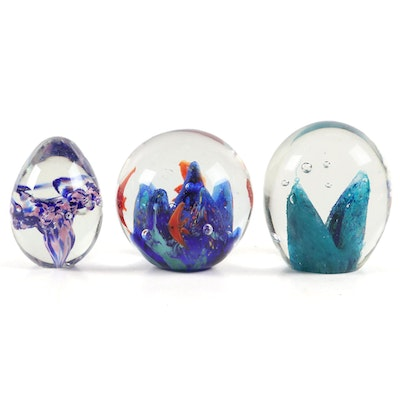 Roger Vines Mt. St. Helens Ash Glass Paperweight and Other Paperweights