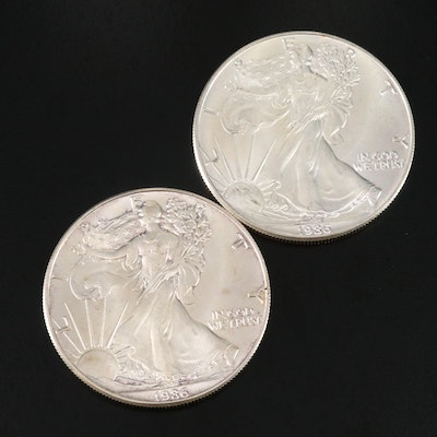 First Year Issue 1986 $1 American Silver Eagle Bullion Coins