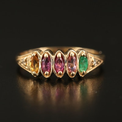14K Emerald, Sapphire, Ruby and Citrine Ring