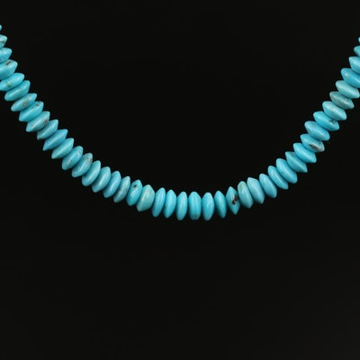 Turquoise Heishi Necklace with 14K Clasp