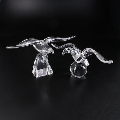 Steuben Art Glass Eagle Figurines