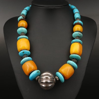Stabilized Turquoise and Amber Necklace with 800 Silver and Sterling Accents