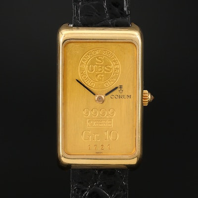 Corum 10 Gram UBS Gold Ingot Stem Wind 18K Gold Wristwatch