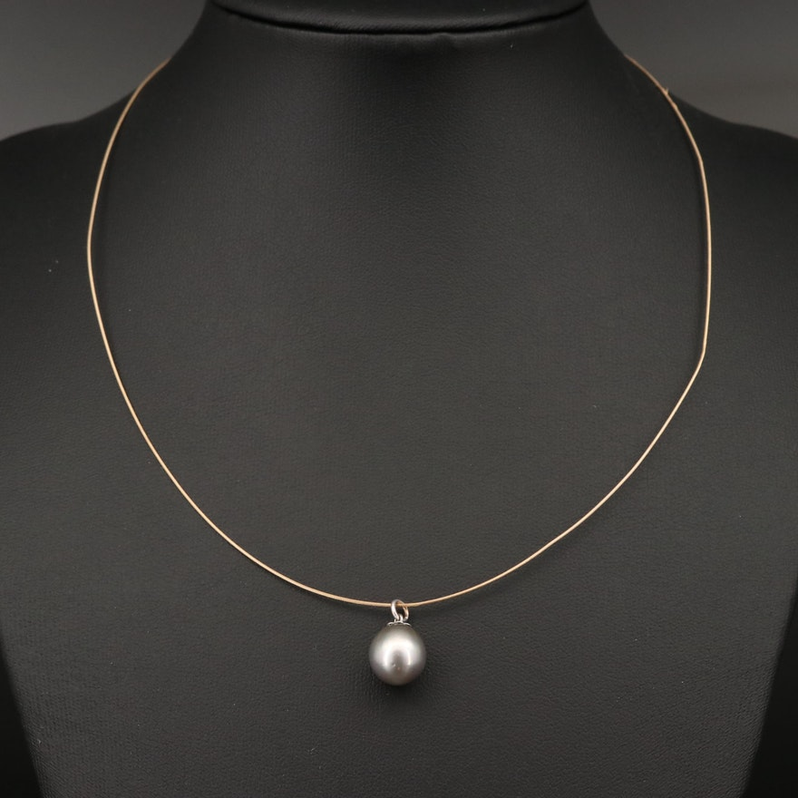 14K Solitaire Pearl Necklace