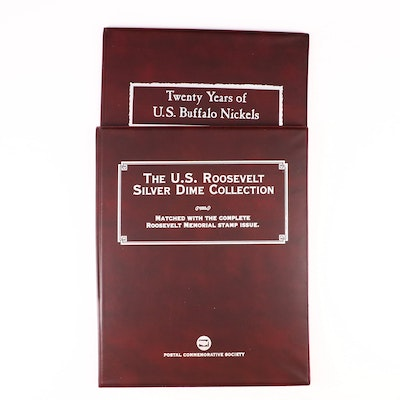 Roosevelt Silver Dimes and Buffalo Nickels with Commemorative Stamps Albums