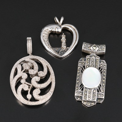 Sterling Silver Pendants Featuring Mother of Pearl and Marcasite