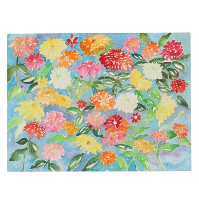 """Sheila Bonser Floral Watercolor Painting """"Zinnias III,"""" 2013"""