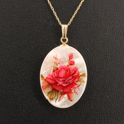 Vintage 14K Mother of Pearl Polynesian Hand Painted Floral Pendant Necklace