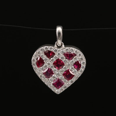 18K Ruby and Diamond Heart Pendant