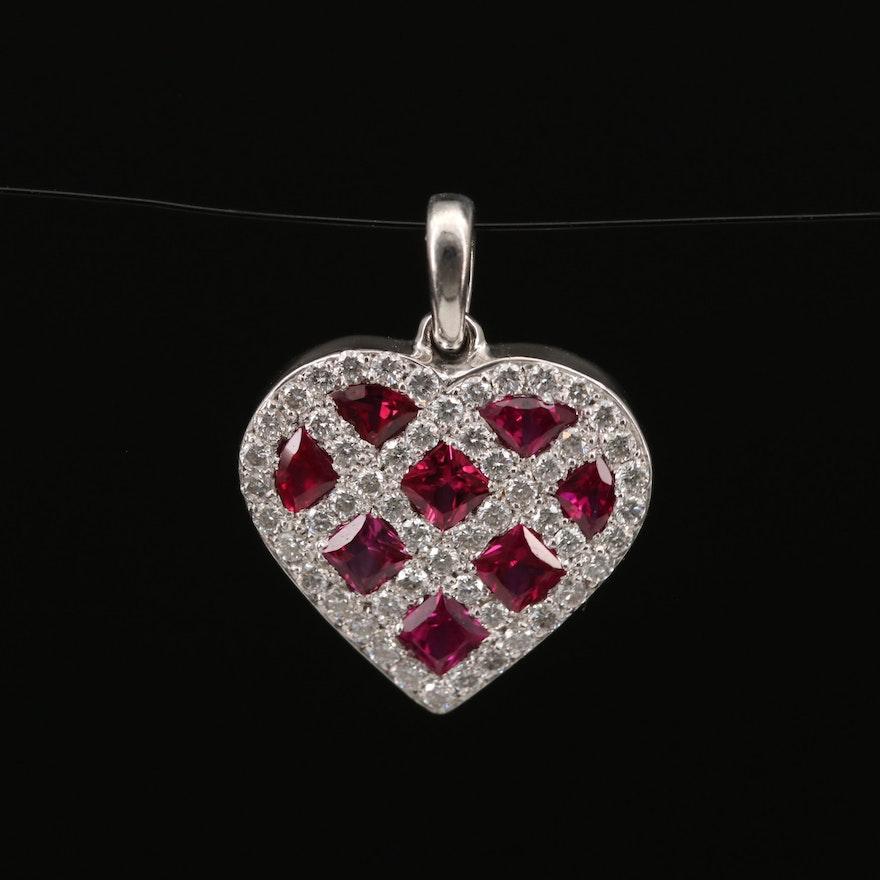 18K Ruby and Diamond Heart Pendant