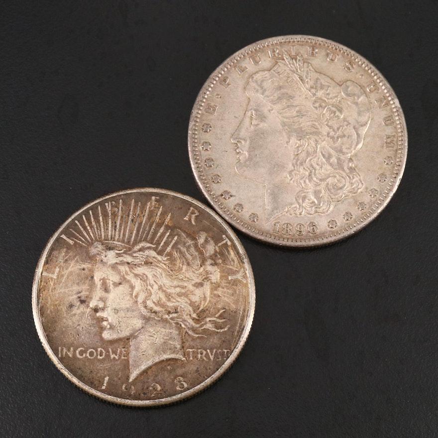 1896 Morgan Silver Dollar and 1923-S Peace Silver Dollar