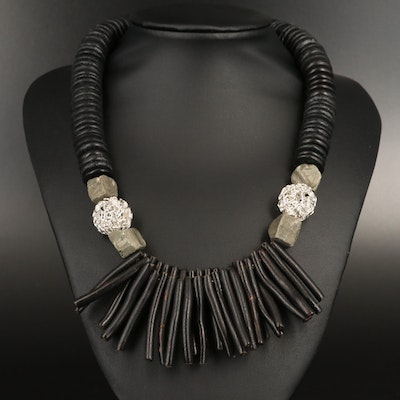 Wood and Pyrite Statement Necklace