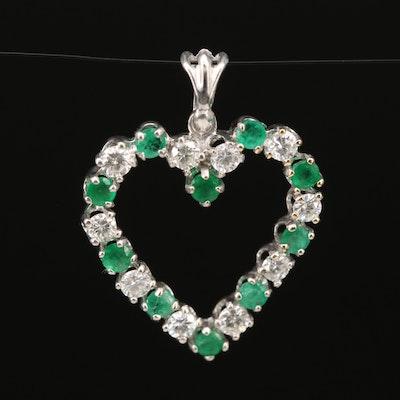 14K Emerald and Diamond Heart Pendant