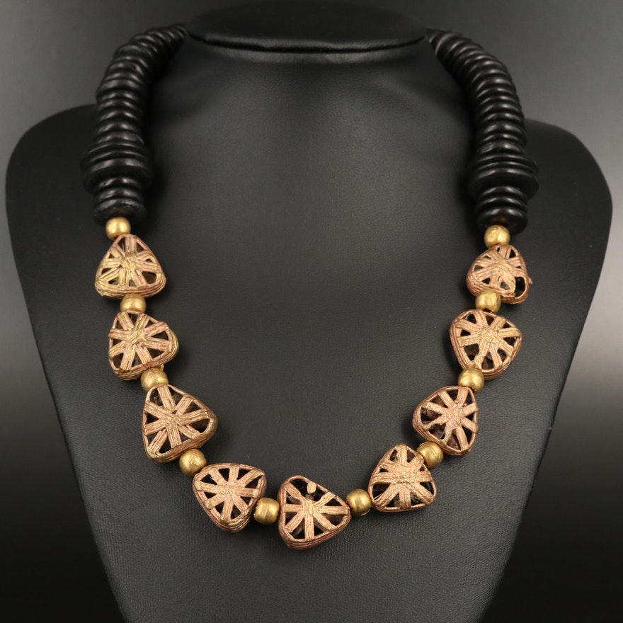 Wood Tribal Style Necklace