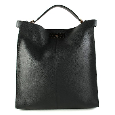 Fendi Peekaboo X-Lite Fit Tote Bag in Black Pebbled Leather